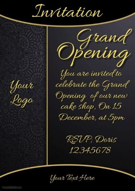 invitation grand opening restaurant menu card shop