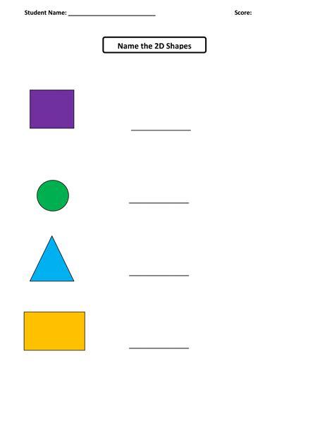 names of shapes worksheets for kindergarten names best