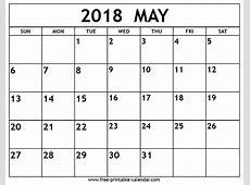 May 2018 calendar Freeprintablecalendarcom