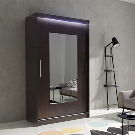 Wardrobe Hanging Mirror by Wardrobe Sliding Doors Mirror Hanging Rail Led Light