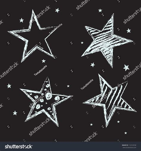 Set Hand Drawn Stars On Chalkboard Stock Vector 112518728