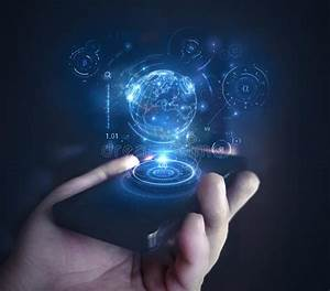 Hologram on phone stock image. Image of concept, interface ...