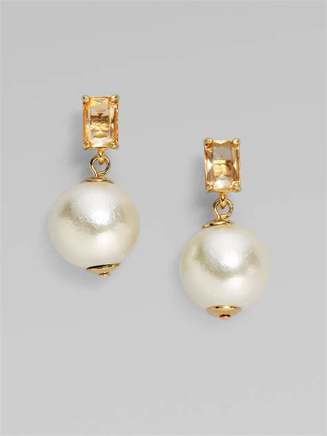 kate spade  york faux pearl earrings  white lyst