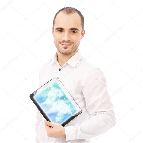 bac a shoing showing tablet computer screen smiling isolated on white bac stock photo 169 hasloo 11555934