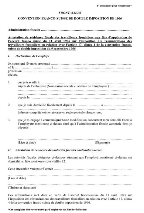 bureau les 3 suisses formulaire int attestation de résidence fiscale suisse