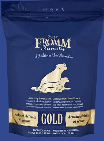 reduced activity  senior dog food fromm family foods