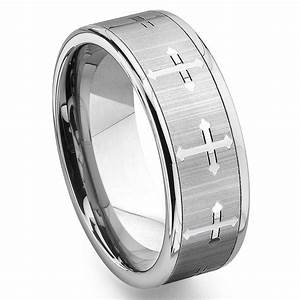 tungsten carbide men39s wedding band ring with cross design With mens cross wedding rings