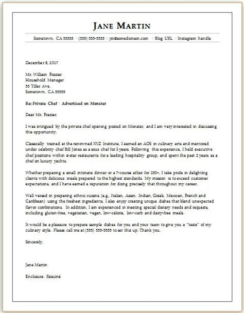 Cover Letter For Chef Application by Chef Cover Letter Sle