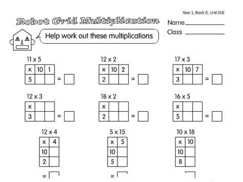 multiplication worksheets using grid method grid multiplication a year 3 multiplication worksheet