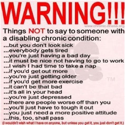 what not to say to someone with a chronic illness