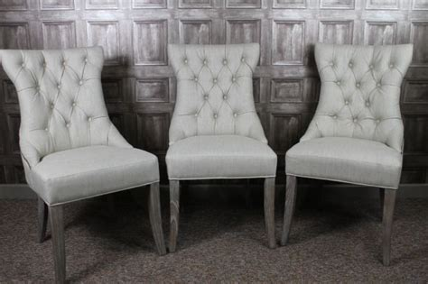 French Style Dining Chairs In Silver Grey Linen La Rochelle