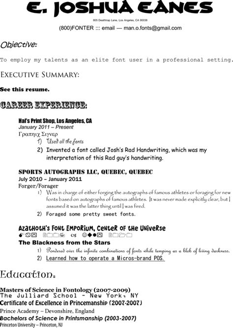 Best Fonts For A Resume by What Is The Best Font To Use For A Resume Resume Ideas