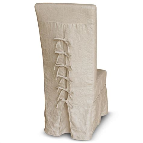 corset back french country ecru linen slipcover dining