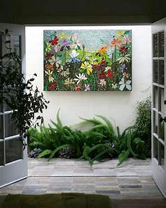 Mosaic wall art stained glass decor floral garden indoor