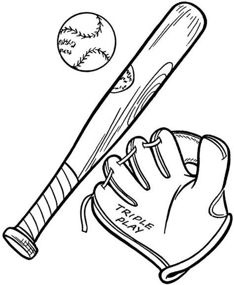 baseball glove  ball   bat coloring page