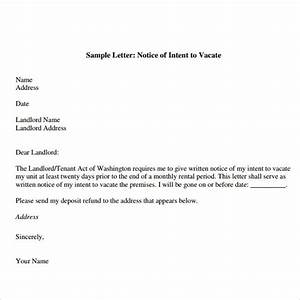 sample notice to vacate letters 8 download free With notice to vacate letter to tenant template