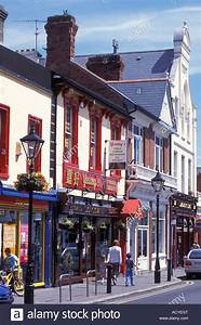 Shops and restaurants at the main street of Dalkey near ...