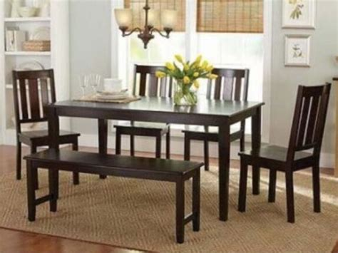 Kitchen Table Set With Bench by 6 Pc Mocha Dining Room Set Kitchen Table Chairs Bench Wood