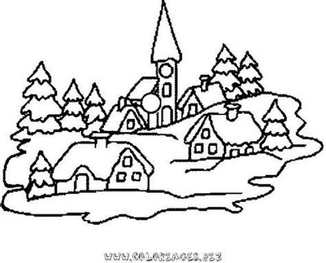 coloriage en ligne chalets et maisons de noel et montagne
