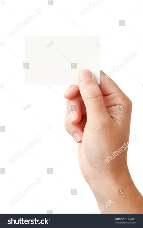 businessmans hand holding blank paper business stock photo