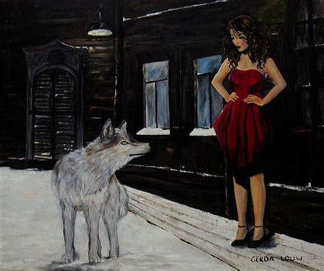 gerda louw oil paintings woman  wolf
