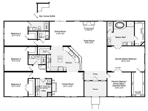 floor plans for manufactured homes the hacienda iii 41764a manufactured home floor plan or modular floor plans