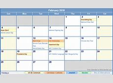 February 2018 Calendar With Holidays 2018 yearly calendar