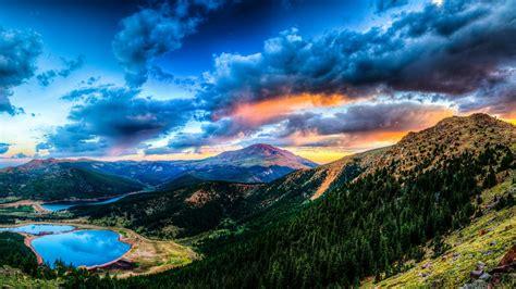 2560x1440 Wallpaper Sunset Mountain Lake Landscape