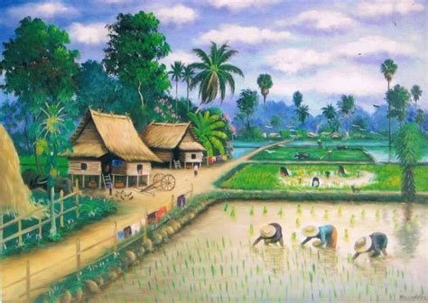 lukisan pemandangan rumah related keywords lukisan