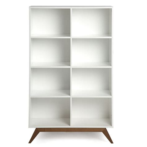 White Bookcase by White Bookshelf With Walnut Accents