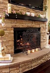 Stone, Fireplace, Mantel, Decorating, Ideas, U2013, 24, Moltoon