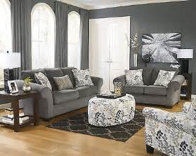 Makonnen Charcoal Sofa Loveseat by Ashley Makonnen Contemporary Charcoal Gray Plush Leaves