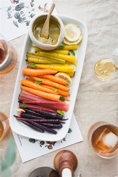 vegetarian thanksgiving side dish rainbow carrots  chard