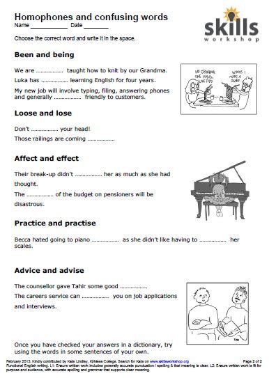 homophones and confusables worksheet skills workshop