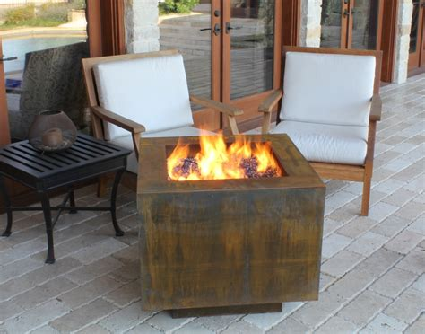 Propane Fire Pit Table In Traditional Patio With Wooden
