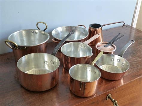 small batterie de la cuisine of re tinned copper pans and pots for sale at 1stdibs