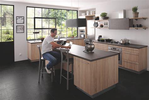 salm cuisine cuisine équipée industrielle avec îlot trend bois