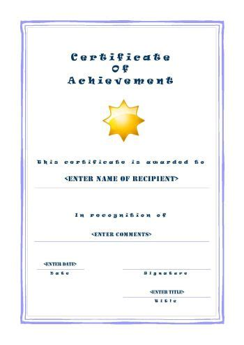 printable certificates  achievement