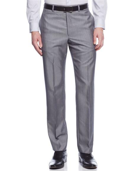mens light grey dress pants calvin klein slim fit solid dress pants in gray for men lyst