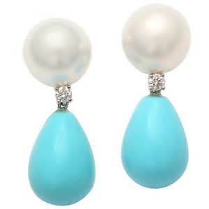 dangle earrings pearl diamond and turquoise drop earrings at 1stdibs