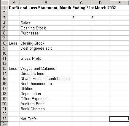 p l template introduction to excel part 2 basic financial statements