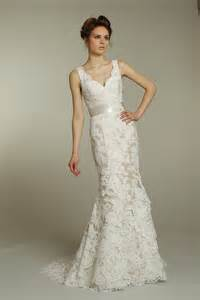 ivory wedding gowns ivory v neck lace wedding dress with chagne ribbon sash onewed