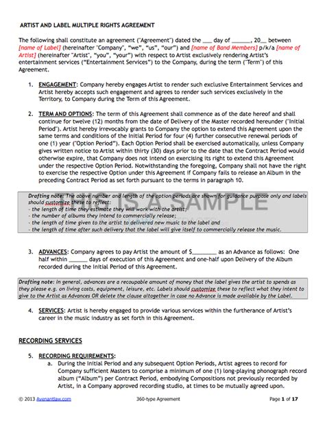 deal contract templates   sample