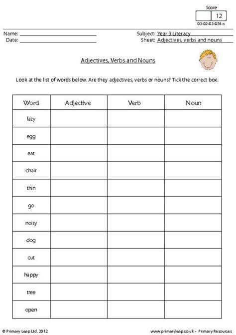adjectives verbs and nouns primaryleap co uk
