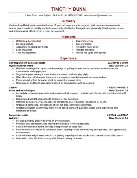 impactful professional retail resume exles resources