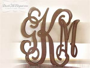 large triple vine monogram wooden craft letters unfinished With monogram letters for wall michaels