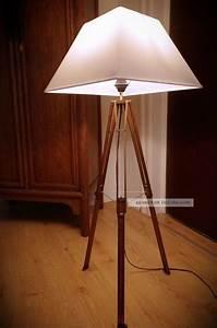 Retro Lampe Holz : tripod loft steh lampe holz stativ bauhaus stil antik 20 30 dreibein retro stoff ~ Indierocktalk.com Haus und Dekorationen
