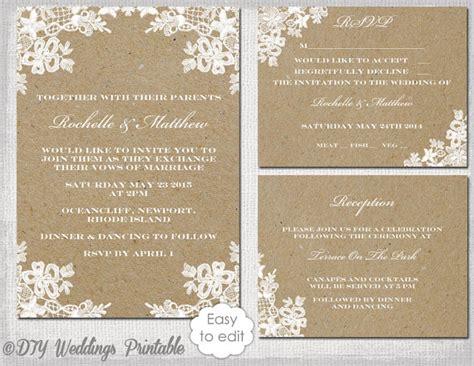 rustic wedding invitation set diy quot rustic lace quot printable