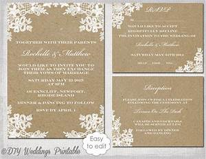 rustic wedding invitation set diy quotrustic lacequot printable With free editable wedding invitation templates for word