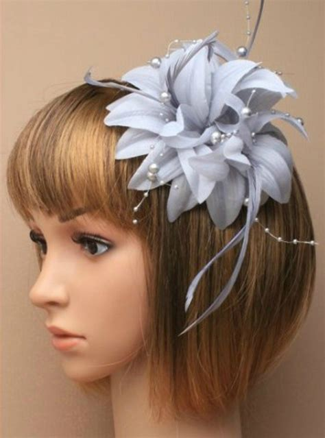 silver grey fascinator  petals pearls  tendrils